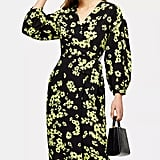 Topshop Green Daisy Print Drama Sleeve Wrap Dress