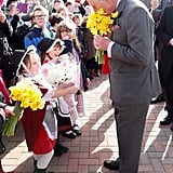 Prince Charles stopped to smell the flowers when he visited Cwmbran, UK, in February.