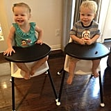 Neil Patrick Harris captured Harper and Gideon eagerly awaiting their pancakes and bacon in their Baby Bjorn high chairs. Source: Twitter user ActuallyNPH
