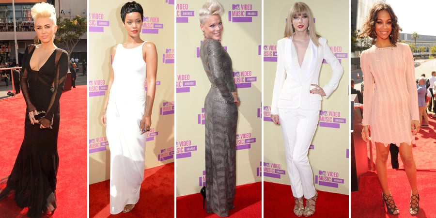 Miley Cyrus, Rihanna, Taylor Swift, Katy Perry and more Celebrities on the Red Carpet at the 2012 MTV VMAs