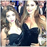 Sofia Vergara and Sarah Hyland posed together in their black gowns. Source: Sofia Vergara on WhoSay
