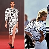 Princess Diana wore this black and white printed blouse to a polo match on June 1, 1983 in Windsor, England. The pattern popped up on multiple pieces in Virgil's Spring 2018 offering.