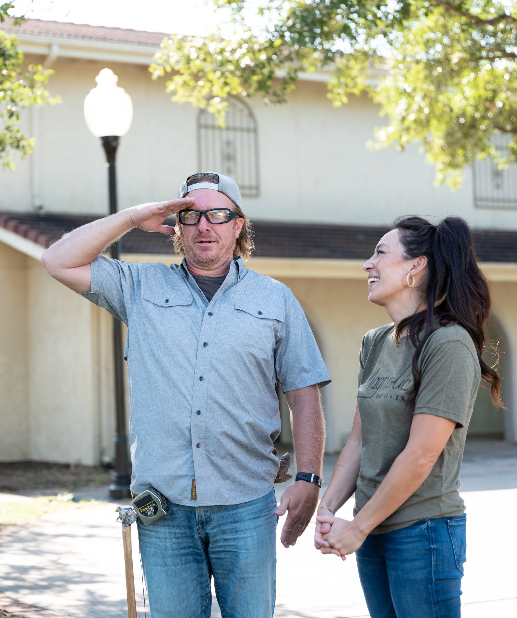 Hosts Chip & Joanna Gaines at Demo Day for the Levings-Holmes house, as seen on Fixer Upper, Season 6.