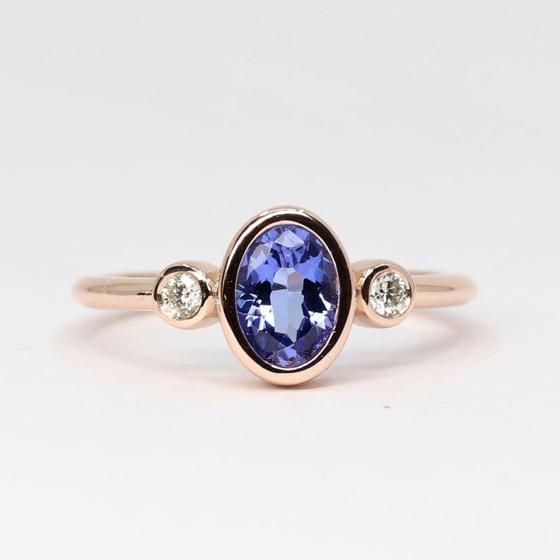 Real Diamond and Natural Tanzanite Engagement Ring