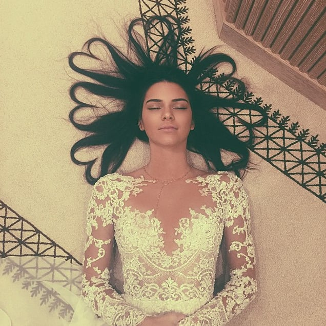Kendall Instagrammed this photo of herself on the floor just five weeks ago. The supermodel was wearing a long sleeve Zuhair Murad lace gown from the Autumn 2015 collection.