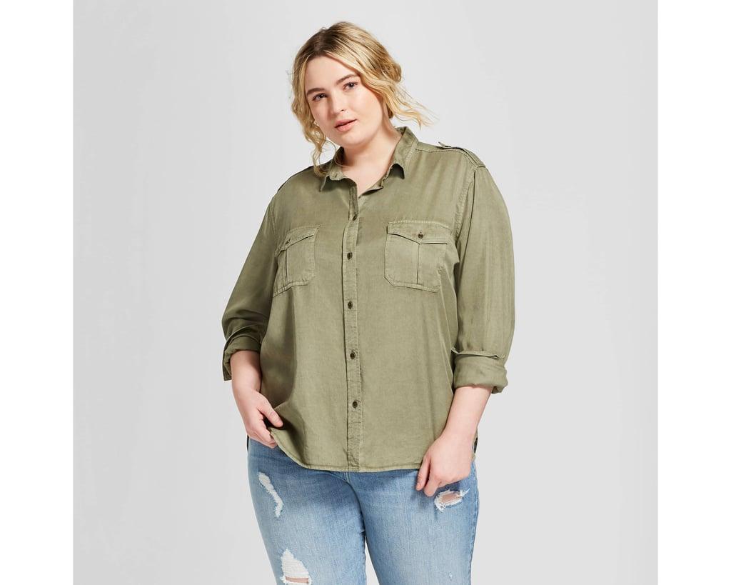 Women's Plus Size Long Sleeve Soft Twill Shirt