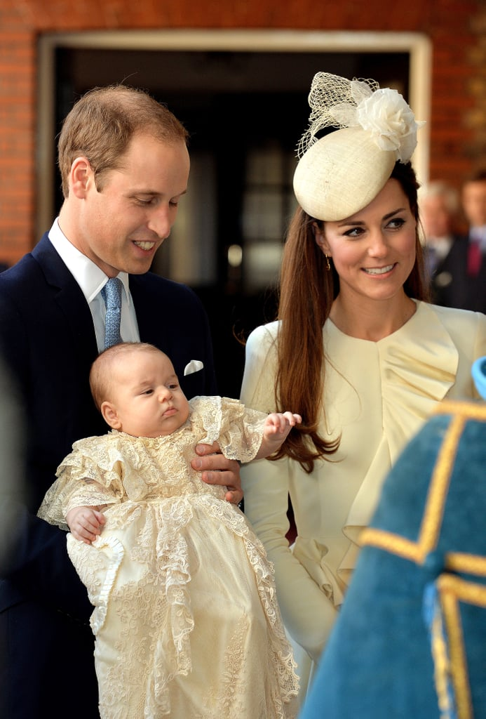 It was announced on Friday that Princess Charlotte will be christened on July 5 at the Church of St. Mary Magdalene on Queen Elizabeth II's Sandringham Estate, where the late Princess Diana was baptized. As we wait for the exciting event, let's take a look back at Prince George's big day!  The royal christening took place inside the Chapel Royal at St. James Palace in London and was overseen by the Archbishop of Canterbury. The guest list was small (only 22 people were invited) but included the queen and William and Kate's parents and siblings. What is large is the number of godparents, seven in total, which include William's cousin Zara Tindall; Julia Samuel, one of Princess Diana's close friends; and a collection of childhood and college friends of William and Kate. George was christened in a replica of the royal christening robe, which, until 2004, was used to baptize every single royal baby since Queen Victoria's time. A replica was made a few years ago as the original robe had begun to deteriorate. The robe wasn't the only traditional detail in the service, as George was christened in the Lily Font, a silver baptismal font that was commissioned by Queen Victoria, and blessed with water from the River Jordan. As for Kate, she wore a cream Alexander McQueen ensemble. Take a look at Prince George's christening and then see even more royal baby's who have marked the important milestone.