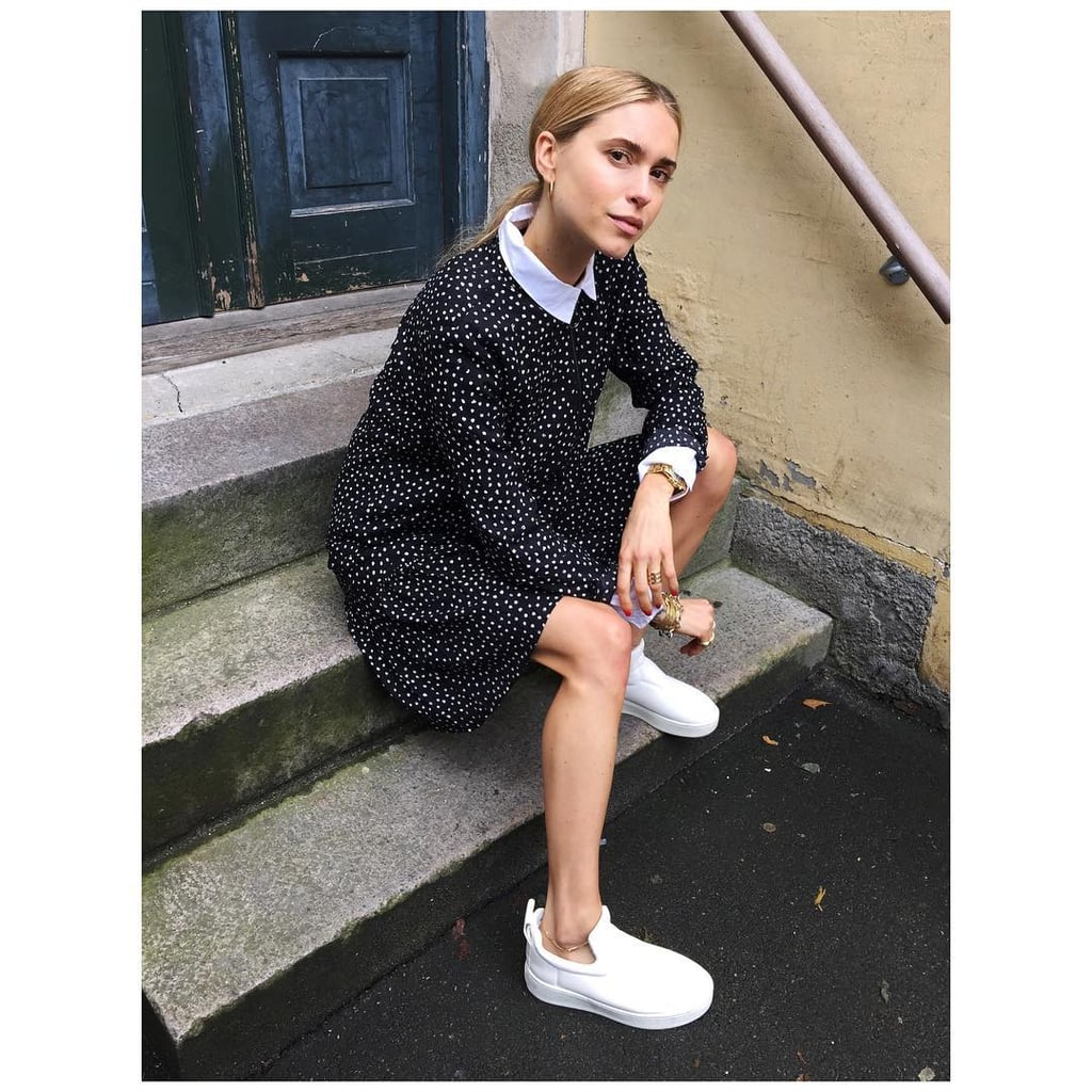 A Patterned Shirt Dress and White Slip-On Sneakers