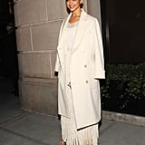 Attending the Ralph Lauren show wearing a monochrome look from the brand.