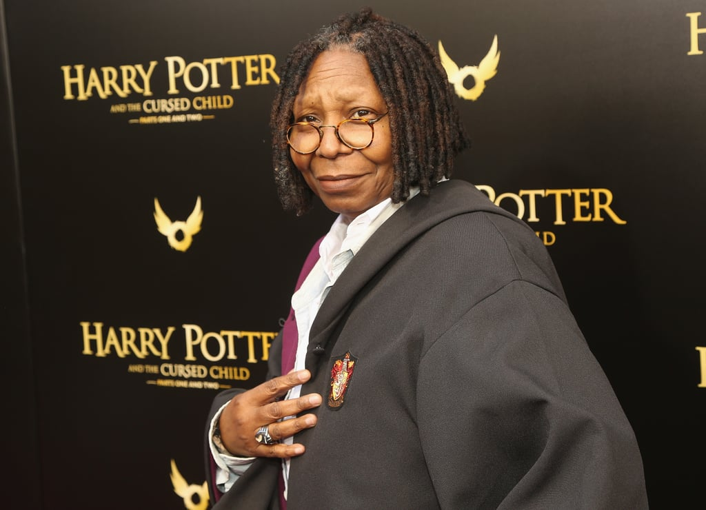 Professor Goldberg has entered the classroom, and class is back in session, Hogwarts! On April 22, Whoopi Goldberg attended the opening night of Harry Potter and the Cursed Child at the Lyric Theatre on Broadway, in full costume, while wearing an adorable Gryffindor robe. It appears the iconic 62-year-old actress and host on The View is actually a longtime fan of the franchise, and even attended the New York City premiere of Harry Potter and the Deathly Hallows Part 2 back in 2011. Ahead, enjoy glorious pictures of Whoopi honoring the evening's unofficial dress code like the true Potterhead we never knew she was.      Related:                                                                                                           Whoopi Goldberg Wore Hiking Boots Under Her Oscars Dress and We're So Here For It