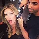 Gisele Bündchen got her hair straightened by stylist Harry Josh. Source: Instagram user giseleofficial