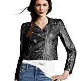This cropped leather iteration lends a cool confidence. H&M Cropped Leather Jacket ($50)