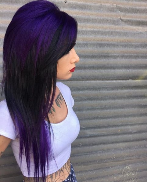 Dark Purple Rainbow Hair Inspiration Popsugar Beauty
