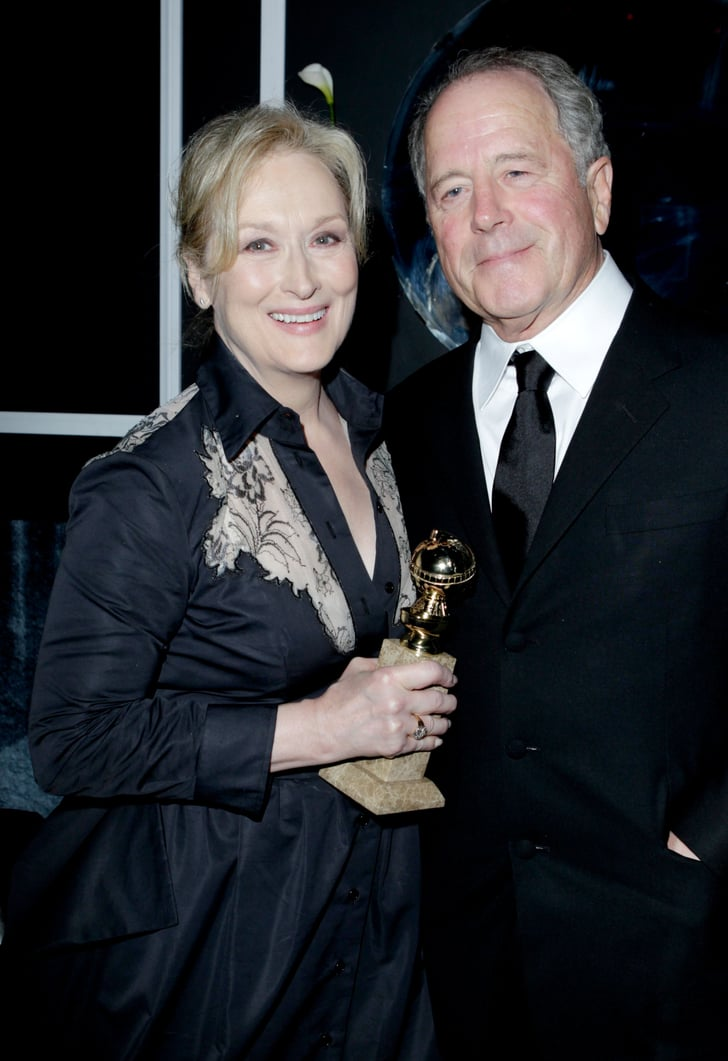 meryl posed with don and her golden globe at the weinstein