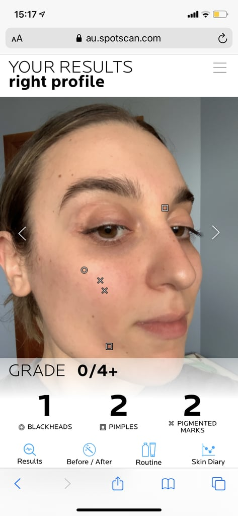 """So, the app will ask to take 3 photos of your face from different angles. After this, it'll scan each image and quickly deliver your """"results"""" and a grade for each angle (just like the image above).   Although it only picked up 2 blackheads across my face (I have naturally dry skin, so this wasn't too much of a surprise), it did alert that I have 8 pigmented marks — a trait of which I wasn't aware of before! Underneath the examination, it'll outline tips and steps as to how to begin to correct the imperfections it picks up. For me, it concluded that I was experiencing hyper pigmentation due a current increase in sebum production. It recommended that I use a gentle, purfying cleanser with a physiological pH to remove any impurities, as well as a pore-tightening toning mist.  Effaclar Micro-Peeling Purifying Gel ($30.99)"""