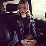 Jaime King looked slick in black leather while en route to the Jason Wu show. Source: Twitter user Jaime_King