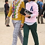 Old-school sweaters upped the cool factor on both of these styles.