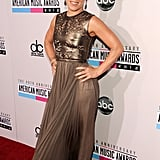 Pink wore a gold dress to the American Music Awards.