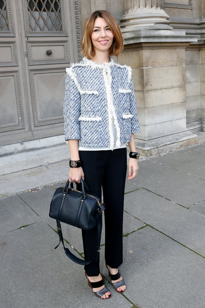 Sofia Coppola stepped out to support her pal Marc Jacobs at his Louis Vuitton show in Paris on Wednesday.