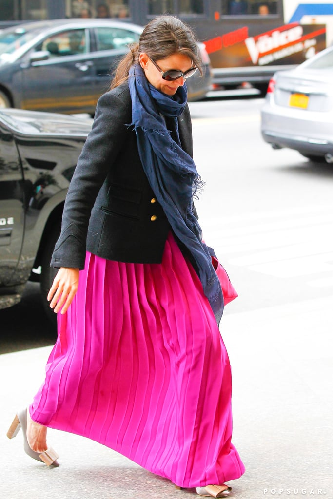 Katie Holmes wore a pink maxi skirt.