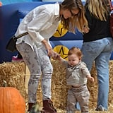 Jessica Alba held Haven Warren's hand in the pumpkin patch in LA.