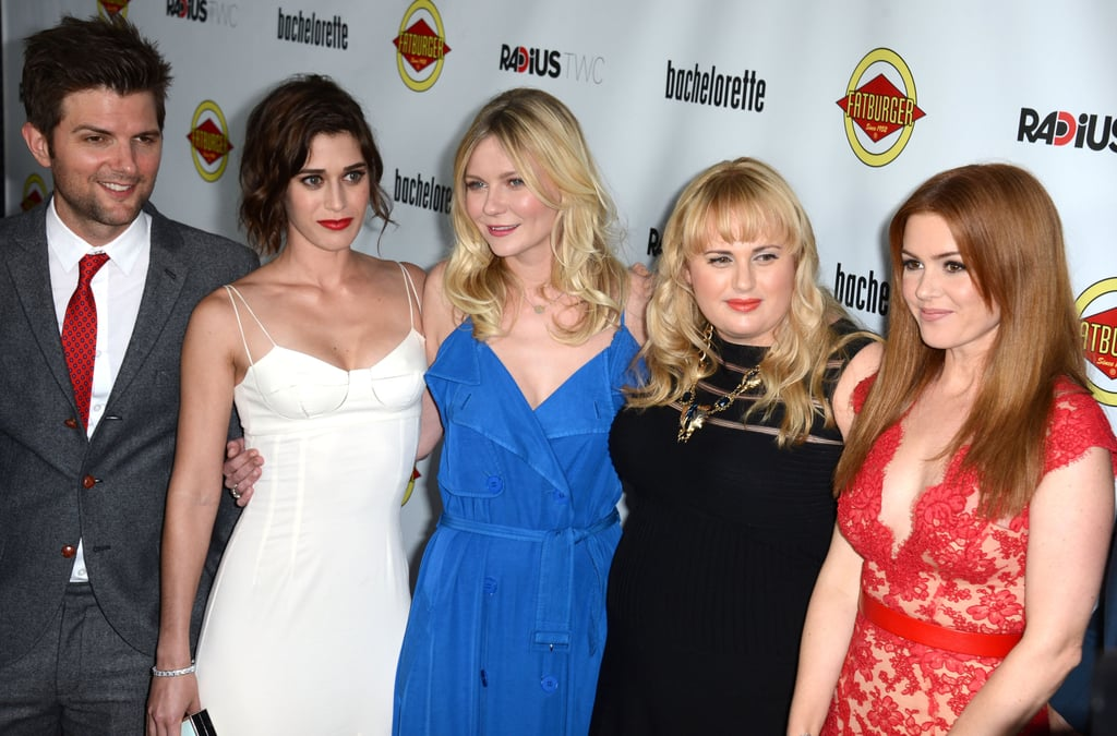 Adam Scott, Lizzy Caplan, Kirsten Dunst, Rebel Wilson, and Isla Fisher linked up at the Bachelorette premiere in LA.