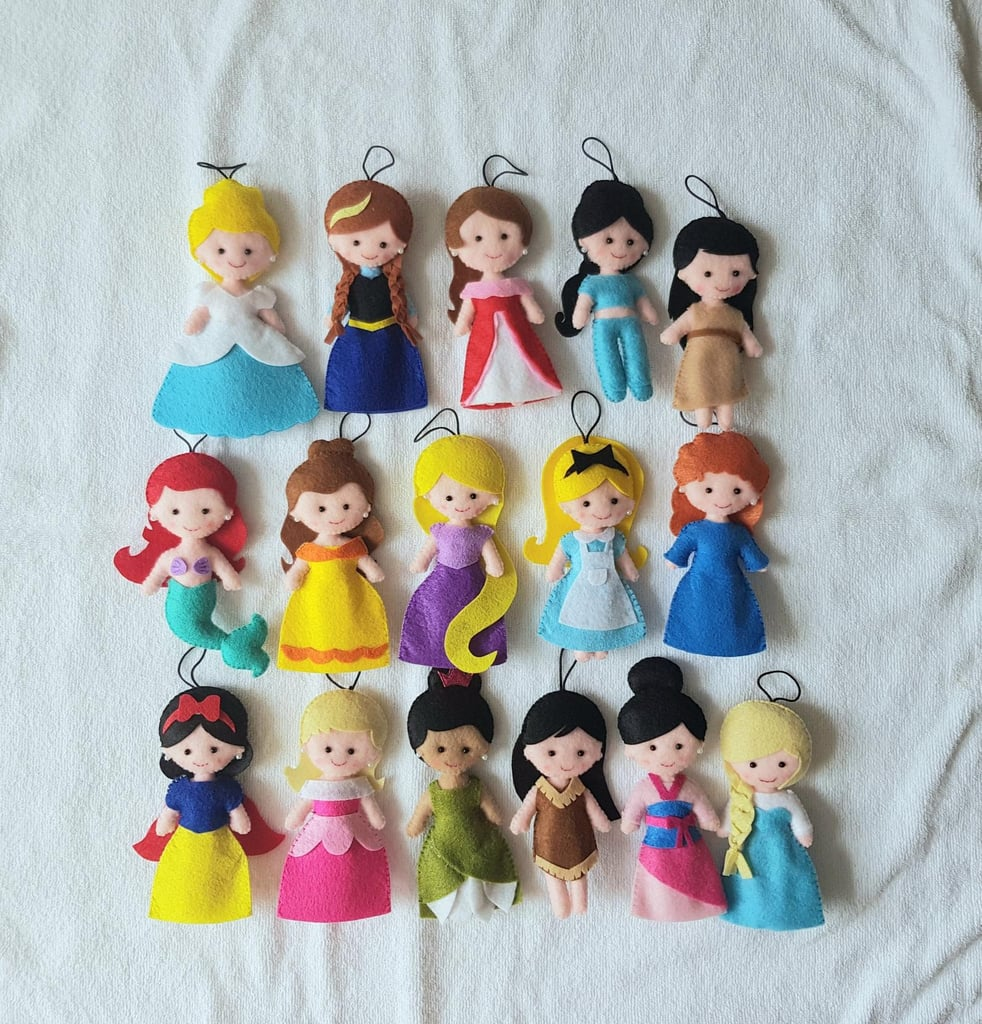 Felted Disney Princess Inspired Christmas Tree Ornaments