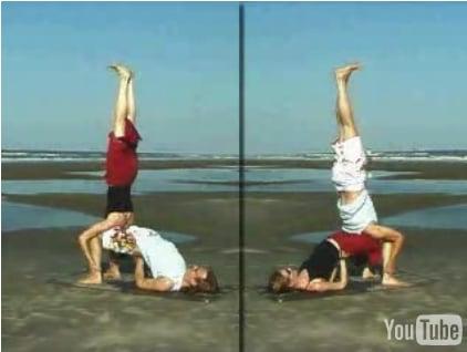 partner yoga pose shoulderstand on bridge  popsugar fitness