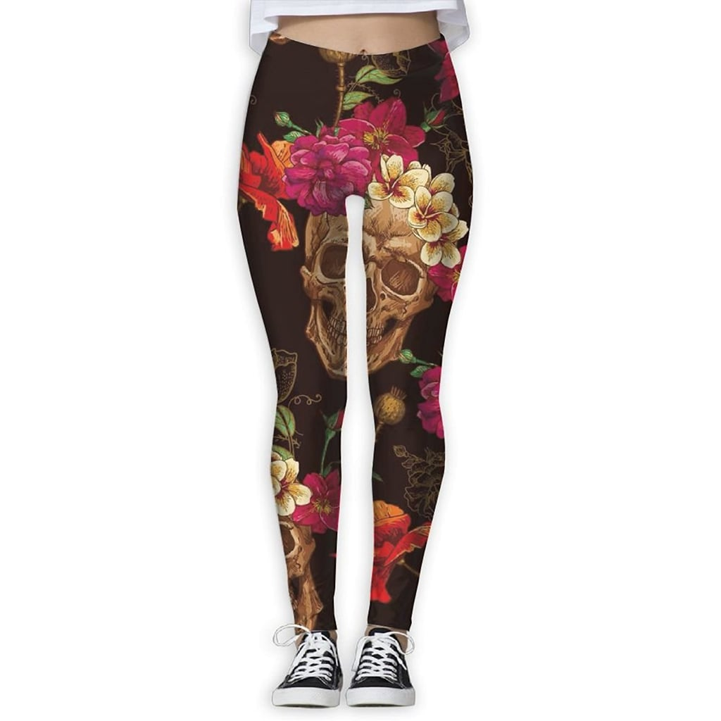 6466809872 ABDGGH Lotus Flowers Skull Printed Women's Fitness Yoga Pant Gym Thin Capris
