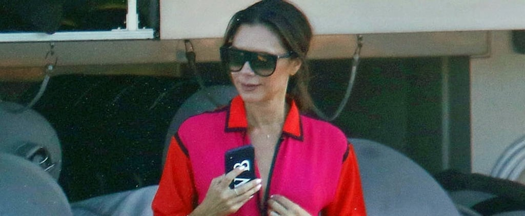 Victoria Beckham's Black Bikini With Red and Pink Cover-Up