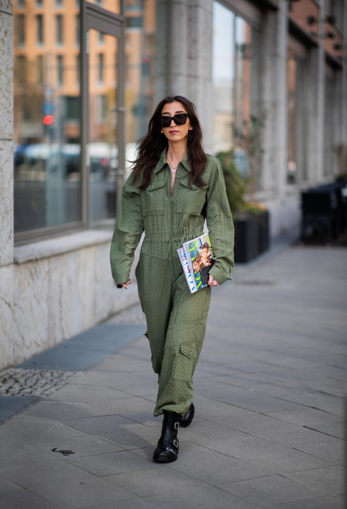 For a one-and-done look, slip into a green jumpsuit.