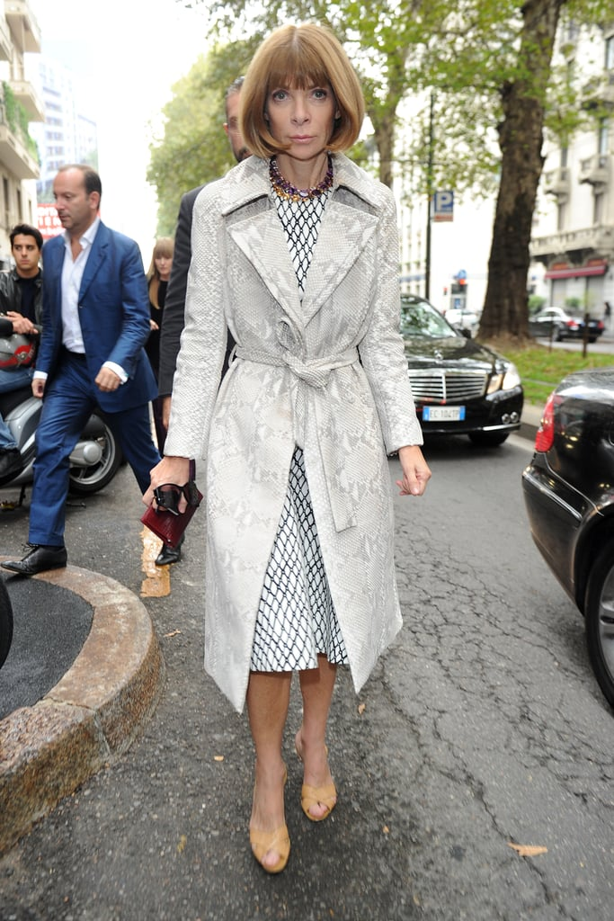 Anna Wintour played with subtle print mixing via a snake print trench and patterned sheath on her way to Dolce & Gabbana.