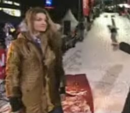 Snowboarder Crashes into Danish Model