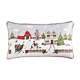 Holiday Farmhouse Scene Pillow