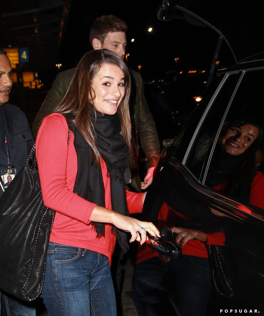 Lea Michele wore a red top.