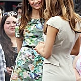 Nina Dobrev looked sweet in a green floral dress.
