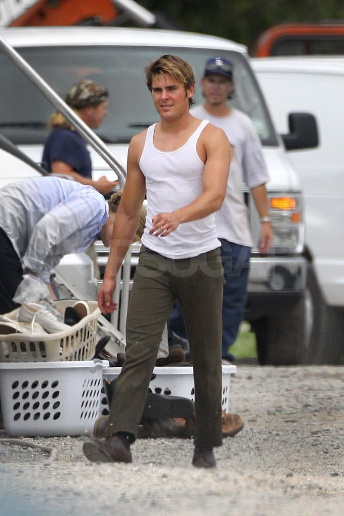 Zac Efron wears a tank top on set in New Orleans.