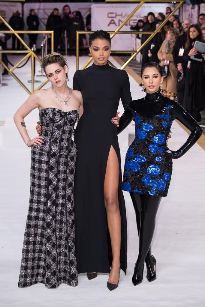 Kristen Stewart, Ella Balinska, and Naomi Scott at the Charlie's Angels Premiere in London
