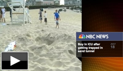 (VIDEO) Boy's Sand Tunnel Collapses at Beach, Triggering Three Hospitalizations