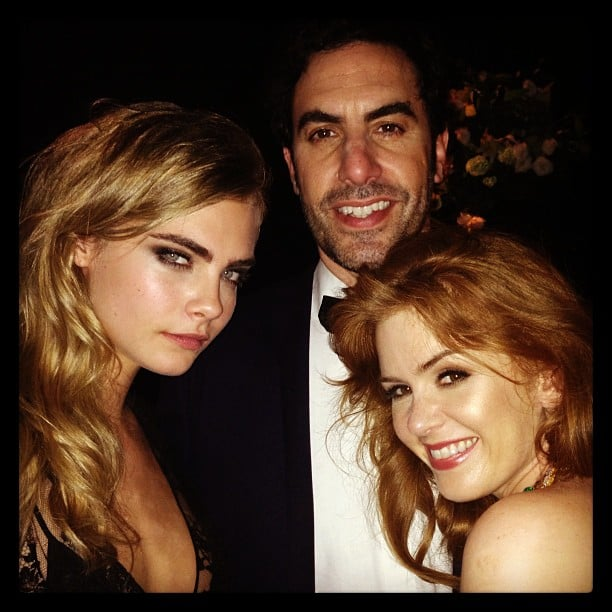 Cara Delevingne met Isla Fisher and Sacha Baron Cohen at the Cannes Film Festival. Source: Instagram user caradelevingne