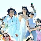 Kris Jenner, Kendall Jenner, and Kim Kardashian at Kanye West's Easter Coachella Service