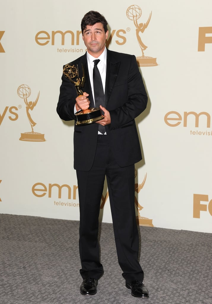 Kyle Chandler headed to the press room with his Emmy award.