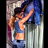 Rihanna rocked a denim-on-denim (-on-denim) look from her River Island collection. Source: Instagram user badgalriri