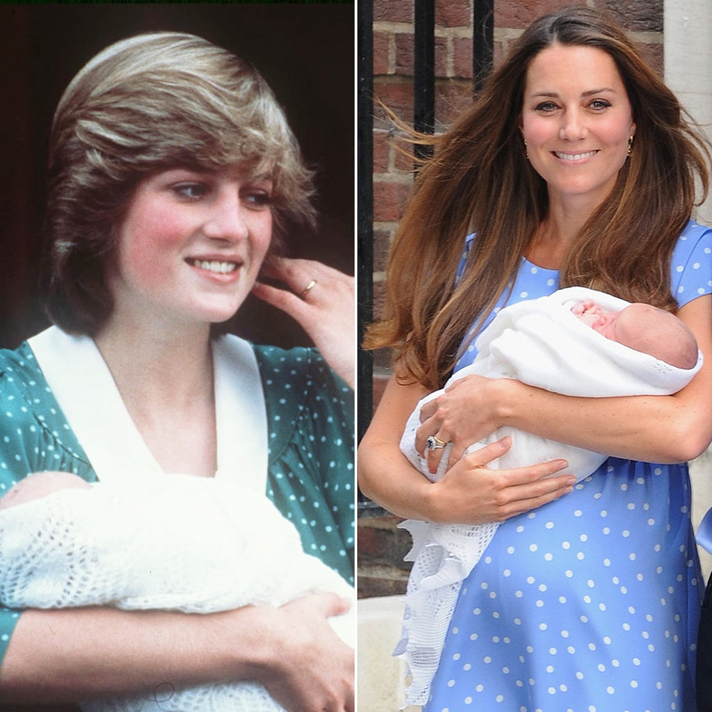 Both Kate and Diana Don Dots In Postpartum Pics With Their Princes