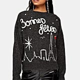 Topshop Christmas Knitted Bonnes Fetes Jumper