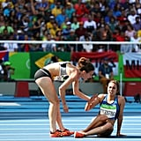 When two runners tripped and helped each other finish.