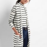 Gap Stripe Rib-Knit Cardigan