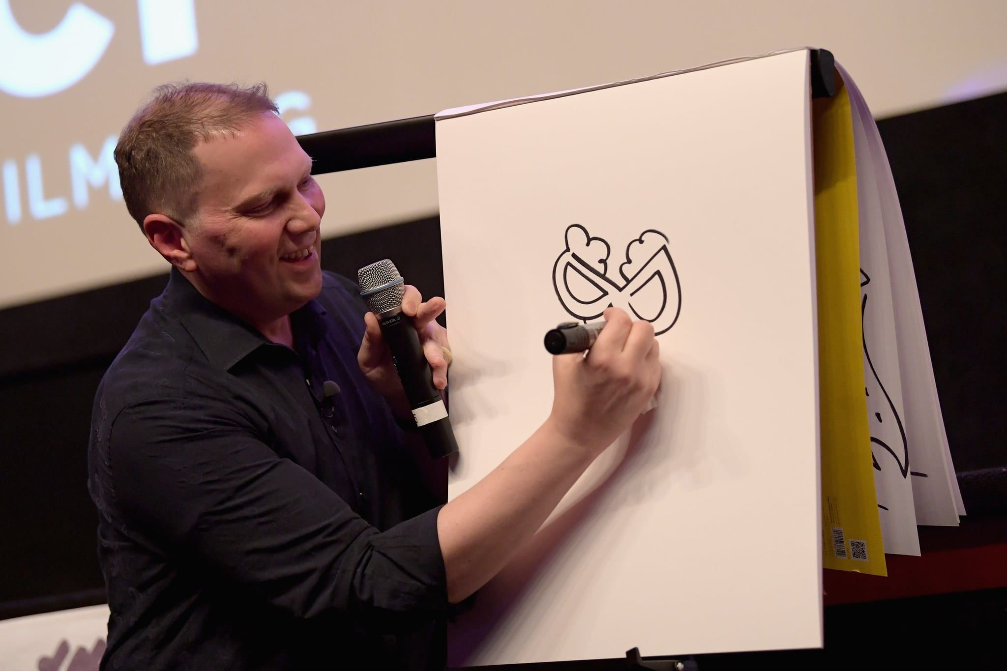 GREENWICH, CT - JUNE 01:  Author Dav Pilkey speaks to moviegoers after the screening of Captain Underpants during Greenwich International Film Festival, Day 1 on June 1, 2017 in Greenwich, Connecticut.  (Photo by Ben Gabbe/Getty Images for Greenwich International Film Festival)