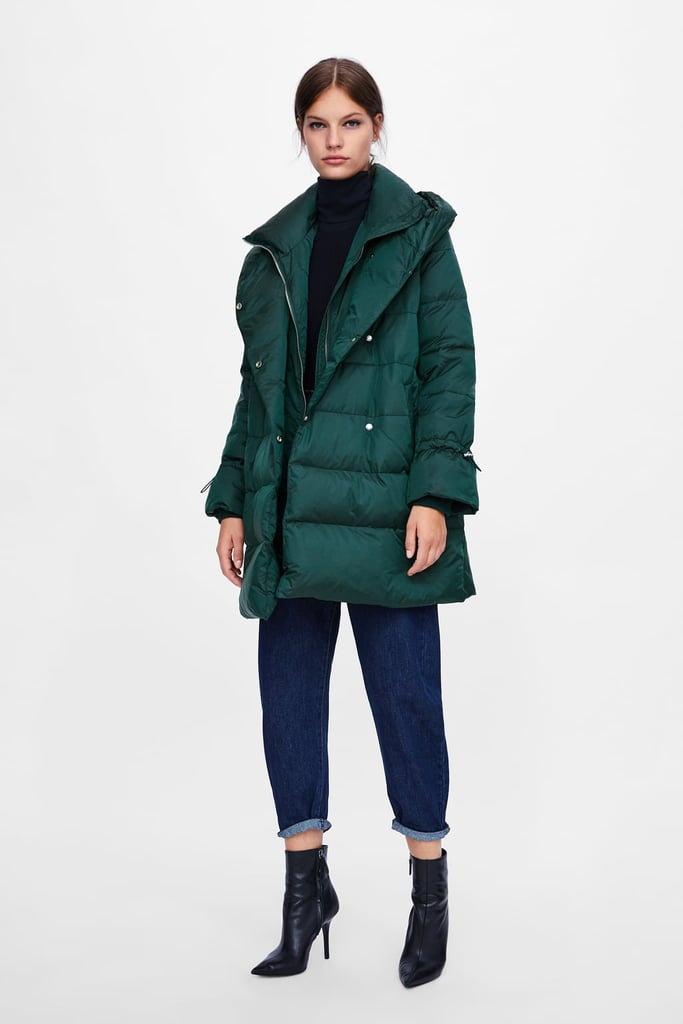 85093b449e Zara Down Puffer Coat With Wraparound Collar | Cheap Winter Coats ...