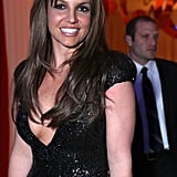 Britney Spears wore a sexy black dress.